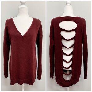 Express   V Neck Open Hole Back Sweater Sz M